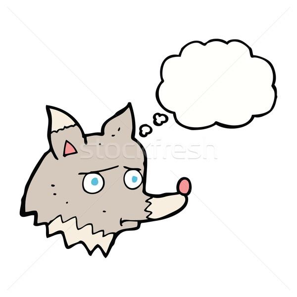 Cartoon несчастный волка мысли пузырь стороны собака Сток-фото © lineartestpilot