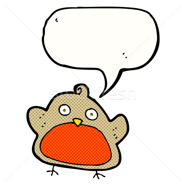 cartoon christmas robin with speech bubble Stock photo © lineartestpilot