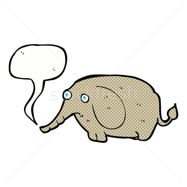 Cartoon smutne mały słoń dymka strony Zdjęcia stock © lineartestpilot