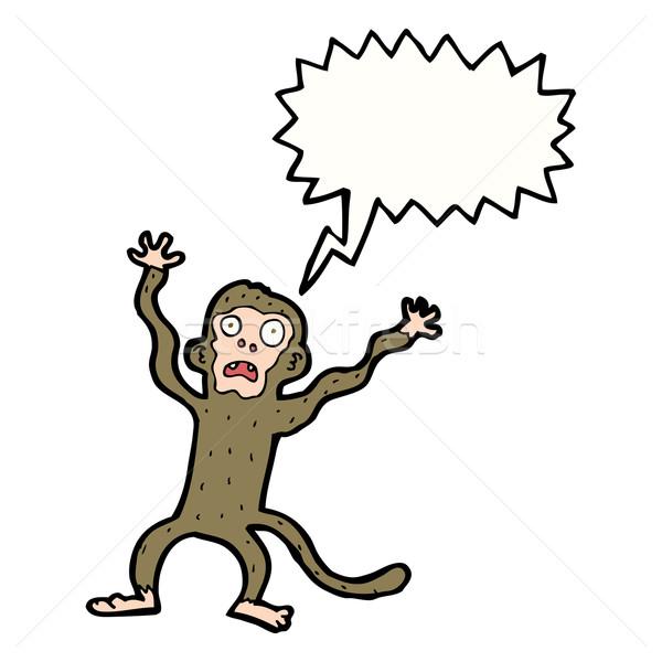 Cartoon przestraszony małpa dymka strony projektu Zdjęcia stock © lineartestpilot