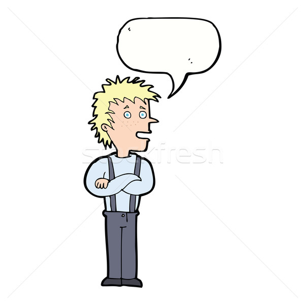 Stock photo: cartoon boy with folded arms with speech bubble