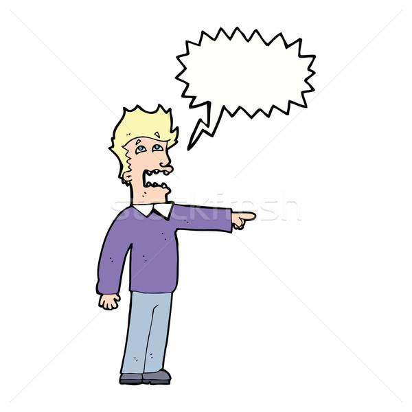 cartoon man accusing with speech bubble Stock photo © lineartestpilot
