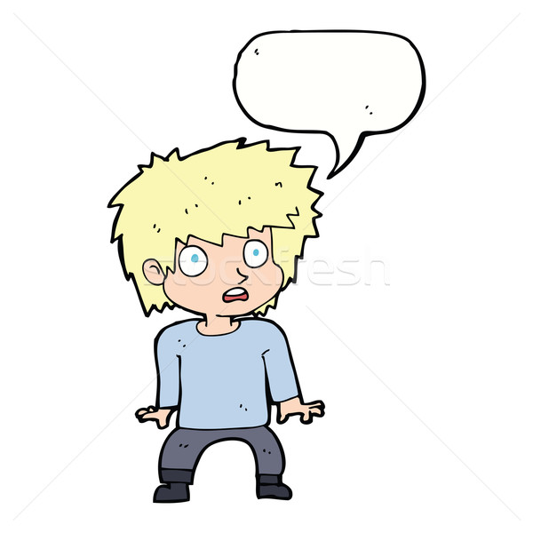 cartoon frightened boy with speech bubble Stock photo © lineartestpilot