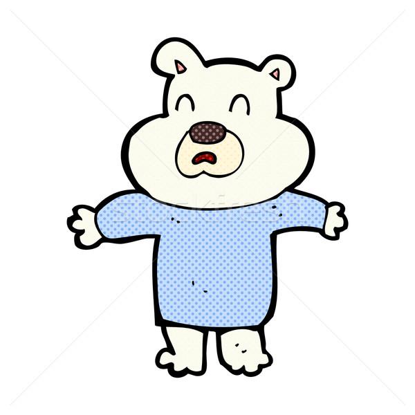 Fumetto cartoon infelice orso polare retro Foto d'archivio © lineartestpilot