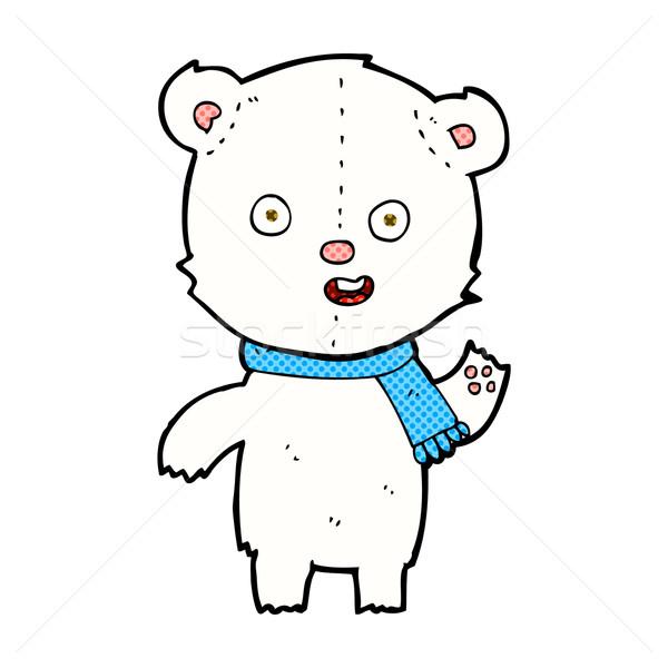 comic cartoon waving polar bear cub with scarf Stock photo © lineartestpilot