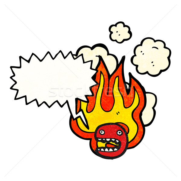 flaming emoticon face cartoon (raster version) Stock photo © lineartestpilot