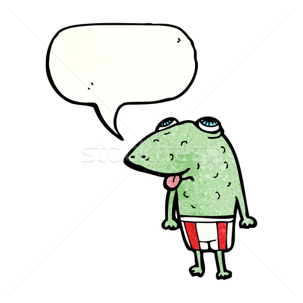 cartoon frog with speech bubble Stock photo © lineartestpilot