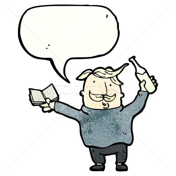 Cartoon вино эксперт говорить ретро рисунок Сток-фото © lineartestpilot