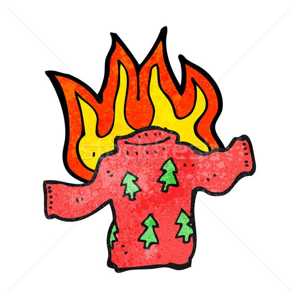 cartoon christmas jumper on fire Stock photo © lineartestpilot