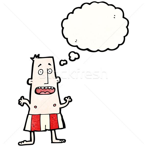 Rajz megszégyenített férfi retro léggömb rajz Stock fotó © lineartestpilot