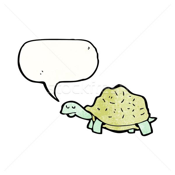 Cartoon черепаха речи пузырь ретро рисунок черепахи Сток-фото © lineartestpilot