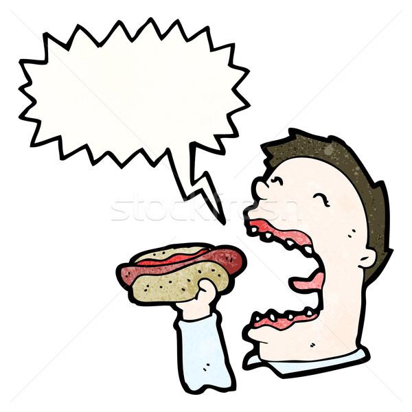 Desenho animado ganancioso homem alimentação arte Foto stock © lineartestpilot