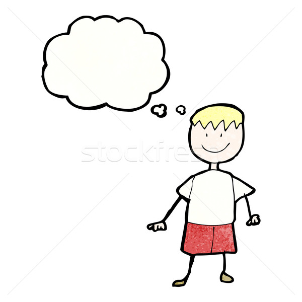 child's drawing of a happy boy with thought bubble Stock photo © lineartestpilot