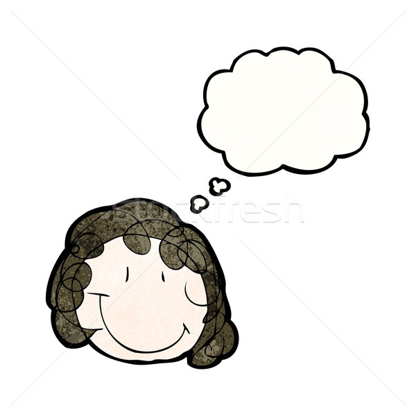 child's drawing of a happy female face with thought bubble Stock photo © lineartestpilot