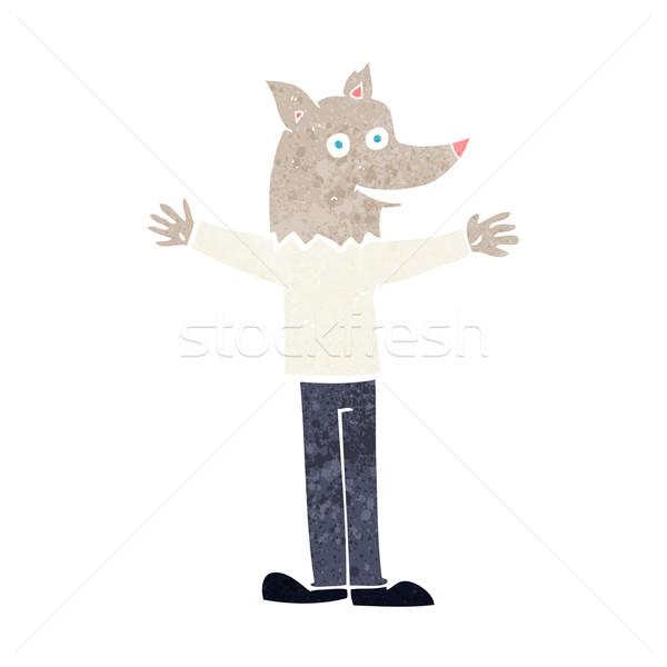 Karikatür kurt adam el dizayn kafa çılgın Stok fotoğraf © lineartestpilot
