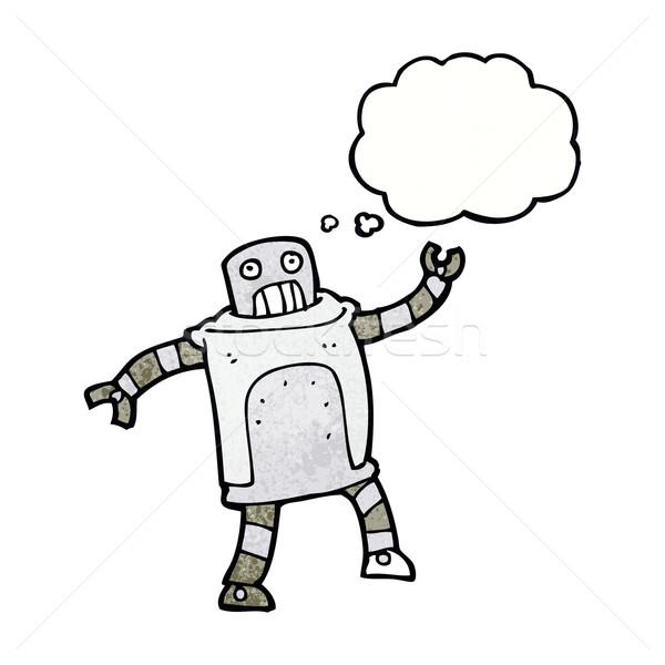 Desenho animado robô balão de pensamento mão projeto arte Foto stock © lineartestpilot