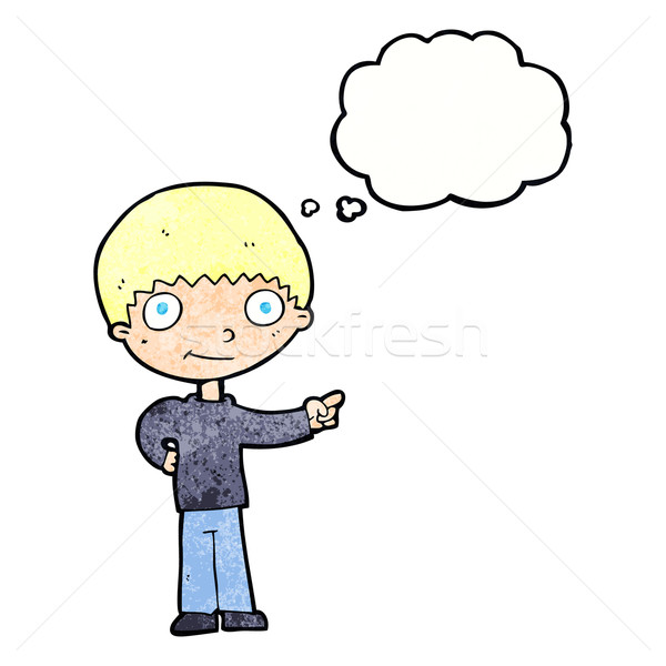 Karikatür işaret düşünce balonu el adam Stok fotoğraf © lineartestpilot