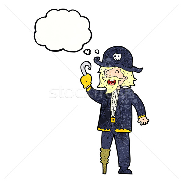 cartoon pirate captain with thought bubble Stock photo © lineartestpilot