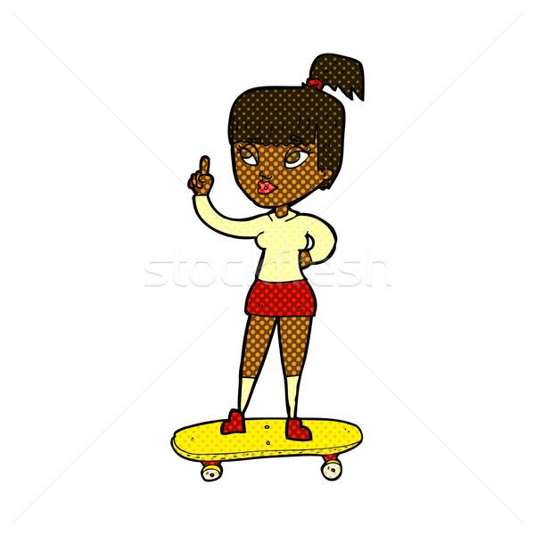 Fumetto cartoon skater ragazza retro Foto d'archivio © lineartestpilot