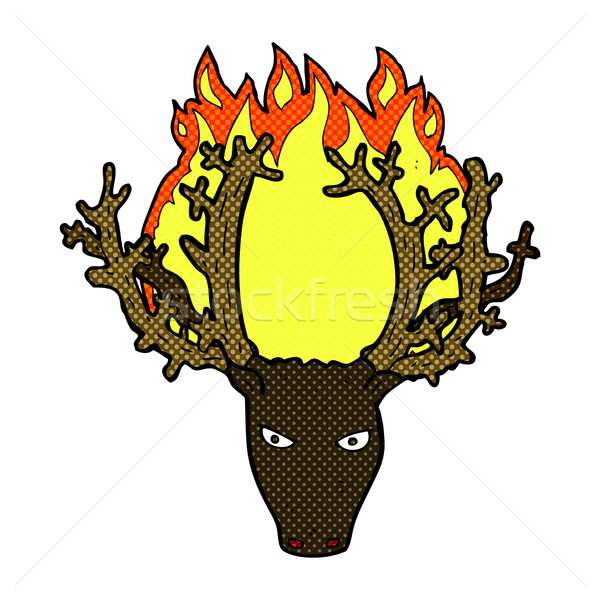 comic cartoon stag head fire symbol Stock photo © lineartestpilot