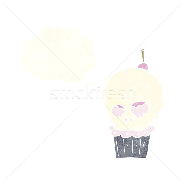 cartoon spooky skull cupcake with thought bubble Stock photo © lineartestpilot