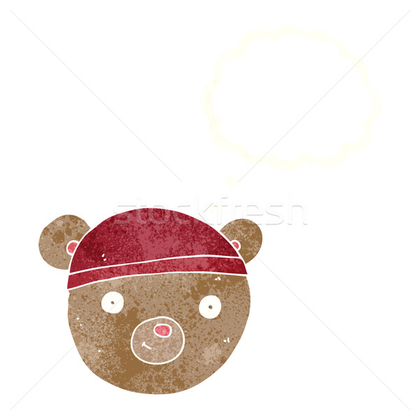 Cartoon miś twarz bubble myśl strony szczęśliwy Zdjęcia stock © lineartestpilot