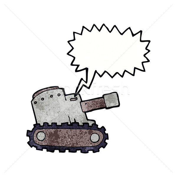 cartoon army tank with speech bubble Stock photo © lineartestpilot