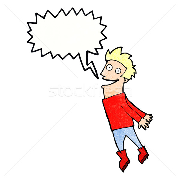 cartoon drenched man flying with speech bubble Stock photo © lineartestpilot