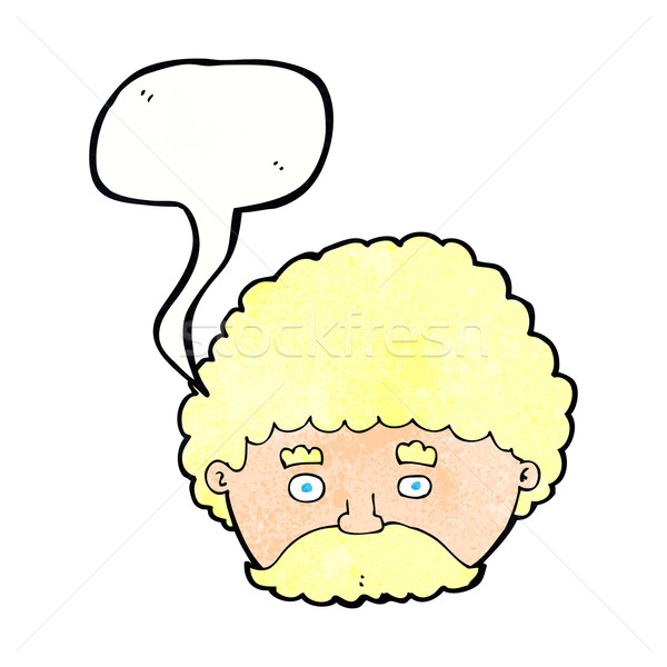 cartoon man with mustache with speech bubble Stock photo © lineartestpilot