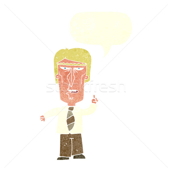 Cartoon grincheux patron bulle main homme Photo stock © lineartestpilot