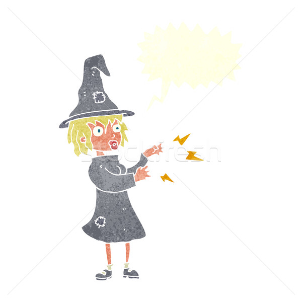 cartoon witch casting spell with speech bubble Stock photo © lineartestpilot