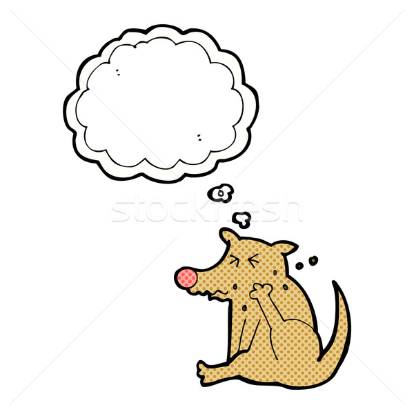 cartoon dog scratching with thought bubble Stock photo © lineartestpilot