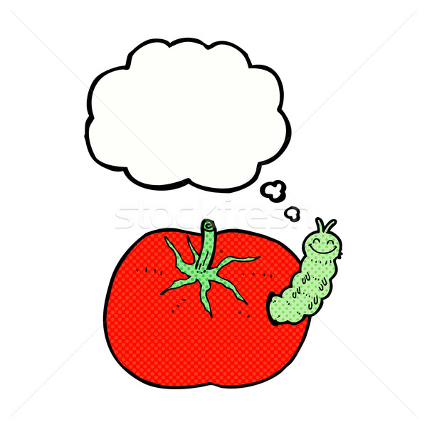 cartoon tomato with bug with thought bubble Stock photo © lineartestpilot