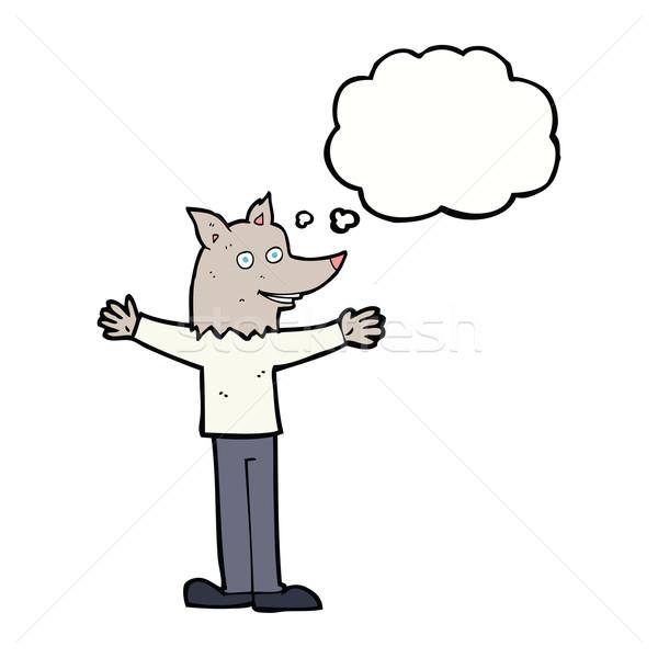 漫画 狼 思考バブル 手 デザイン 頭 ストックフォト © lineartestpilot