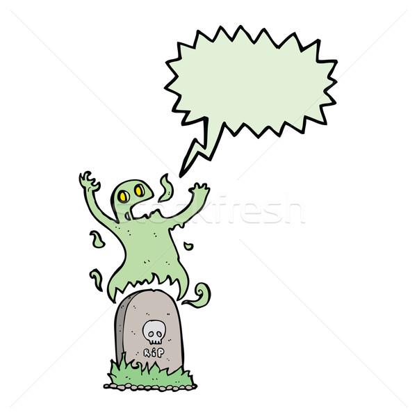 Cartoon duch grobu dymka strony Zdjęcia stock © lineartestpilot