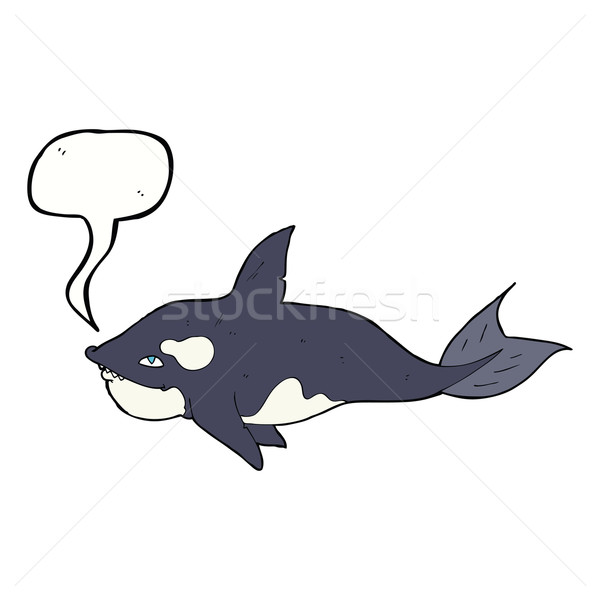cartoon killer whale with speech bubble Stock photo © lineartestpilot