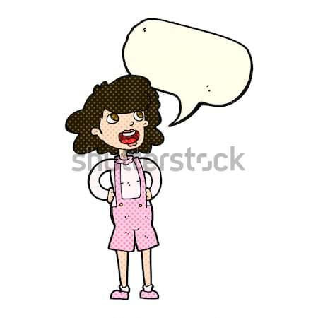comic cartoon woman in dungarees Stock photo © lineartestpilot