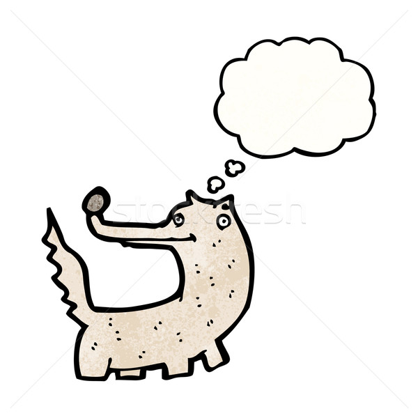 Cartoon волка текстуры стороны счастливым мышления Сток-фото © lineartestpilot