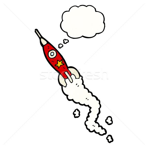 Foto stock: Espaço · foguete · desenho · animado · falante · retro · desenho
