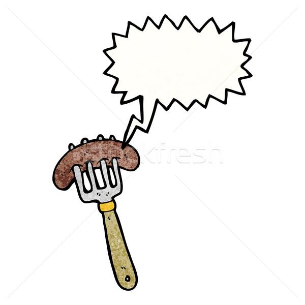 Stock photo: cartoon sausage on fork