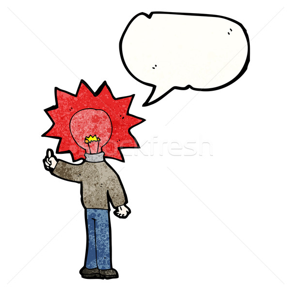 Cartoon człowiek czerwone światło żarówki głowie czerwony Zdjęcia stock © lineartestpilot