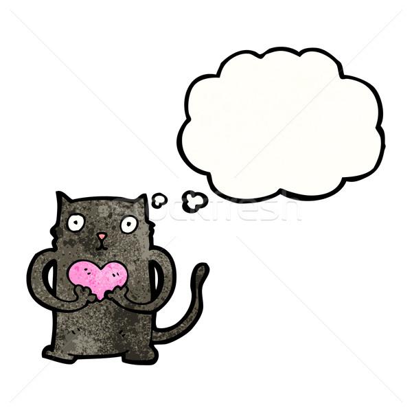かわいい 漫画 黒猫 猫 レトロな バルーン ストックフォト © lineartestpilot