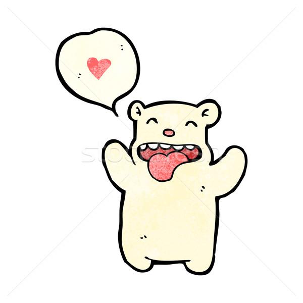 Rajz kicsi jegesmedve szeretet szív művészet Stock fotó © lineartestpilot