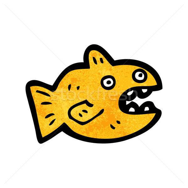 Stok fotoğraf: Karikatür · akvaryum · balığı · Retro · çizim · sevimli · grunge