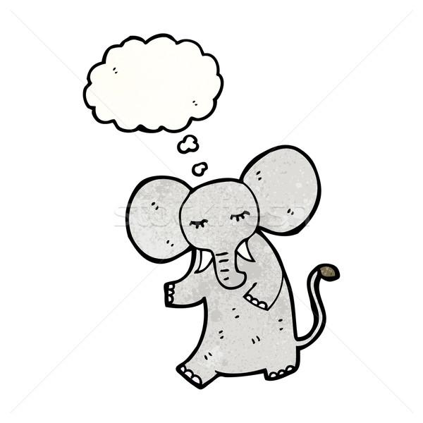 Cartoon słoń retro tekstury odizolowany biały Zdjęcia stock © lineartestpilot