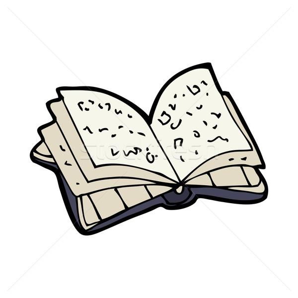 Cartoon Open boek hand ontwerp bibliotheek gek Stockfoto © lineartestpilot