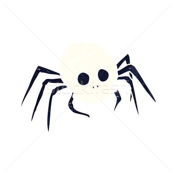 Rajz ijesztő halloween koponya pók kéz Stock fotó © lineartestpilot