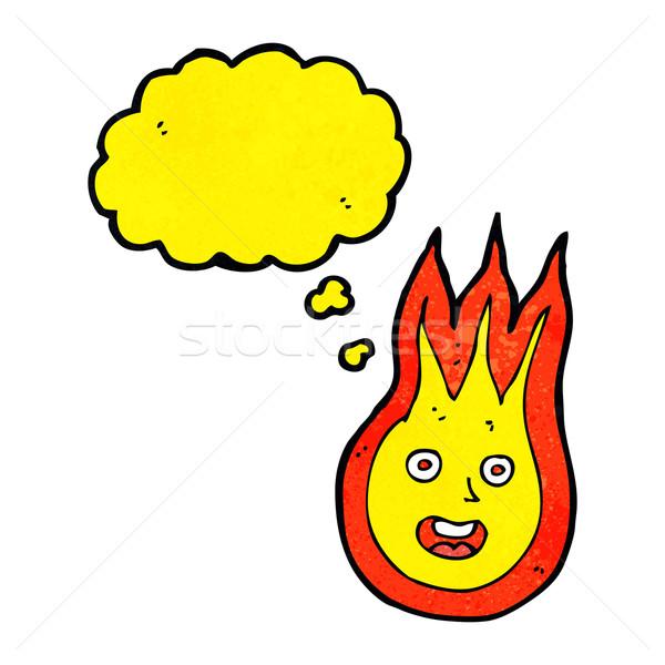 Cartoon amistoso bola de fuego burbuja de pensamiento mano diseno Foto stock © lineartestpilot