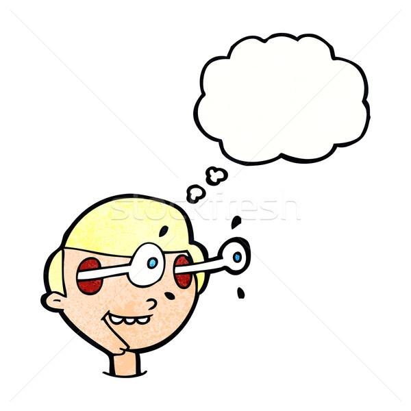 Desenho animado animado meninos cara balão de pensamento mão Foto stock © lineartestpilot
