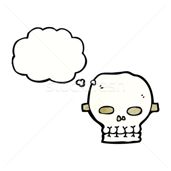 cartoon spooky skull mask with thought bubble Stock photo © lineartestpilot
